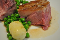 Detail: Scottish lamb, aubergine, smoked potatoes, English Peas
