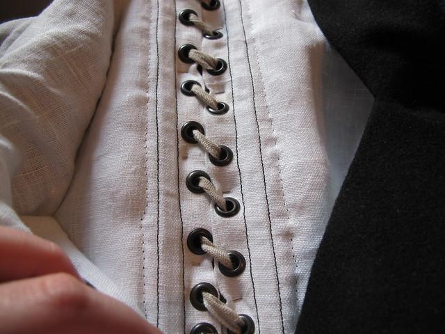 striped 16th century German - hidden lacing