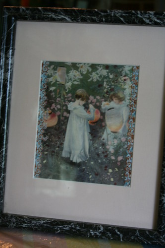 Framed Girls with lanterns print