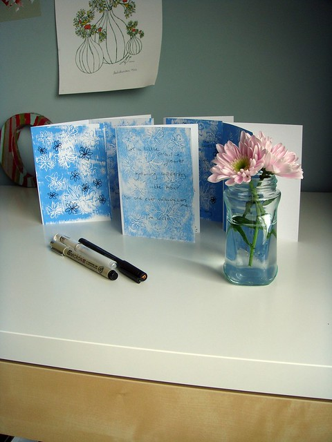 Finished cards with writing and doodling