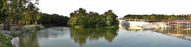 Looking east towards the spillway at White Rock Lake, Dallas, Texas