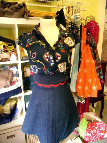 nautical crop top & denim skirt