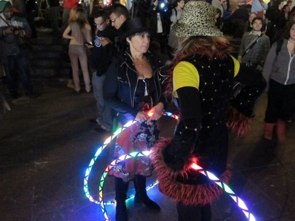 Occupy Wall Street: Day 21, Zuccotti Park at night, Hula hoopers