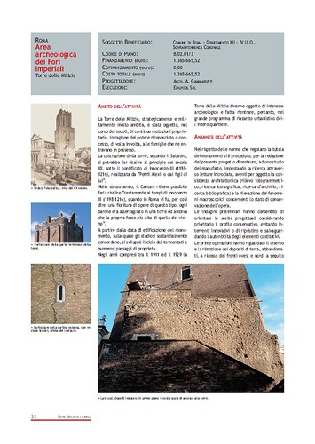 Rome, The Imperial Fora Project (1998-2011) Documents [in PDF]: Roma -Area Archeologica dei Fori Imperiali - Torre della Milizie. Com. di Roma (1999-2000). by Martin G. Conde