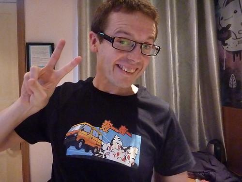 Col posing in the T-shirt he bought in Beijing