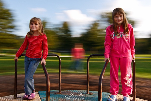 The girls on the merry go round.
