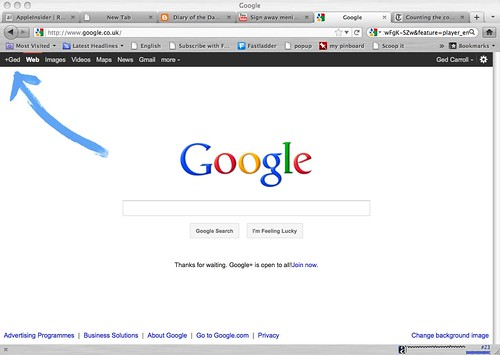 google blue arrow ad
