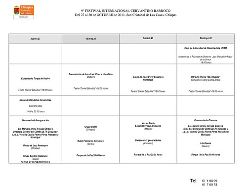 Programa IX FESTIVAL CERVANTINO 2011