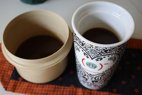 pumpkin syrup and coffee with it