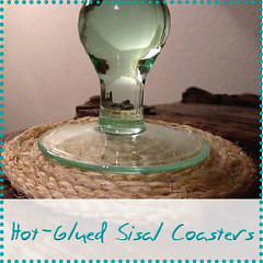 hot glued sisal coasters