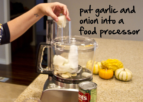 put garlic and onion in food processor