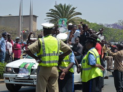 Zambians try to catch a glipse of the new Pres...