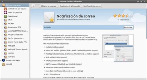 Centro de software de Ubuntu - Notificación de correo