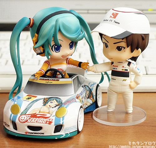 Nendoroid Kobayashi Kamui with Racing Miku (riding the car)