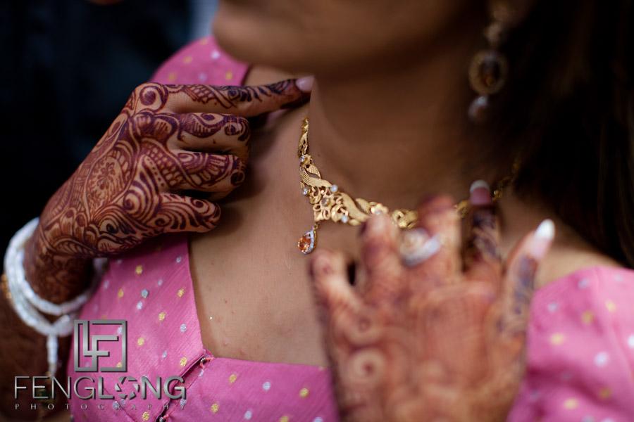 Bride Putting on Necklace | Shamz & Sana's Wedding Day 2 | Hyatt Place Atlanta Airport South | Atlanta Indian Photographer