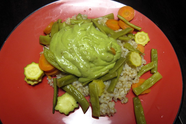 Rice, veggies, and guacamole