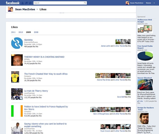 new facebook likes profile