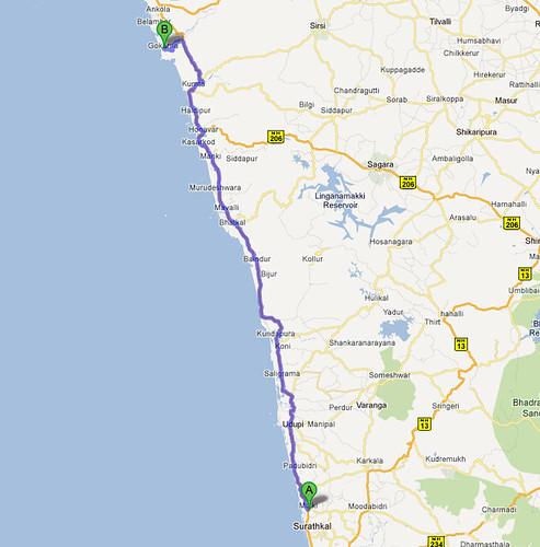 Map Route from Mulki to Gokarna