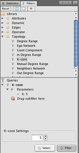 Gephi - k-core filter