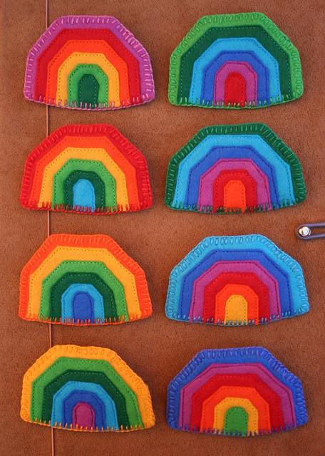 Rainbow brooches set
