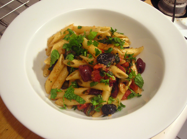 Penne with olives, heirloom tomatoes and herbs