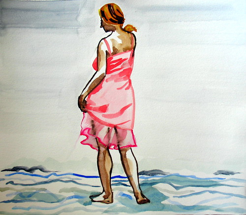 20-minute watercolor of woman in pink dress wading into waves