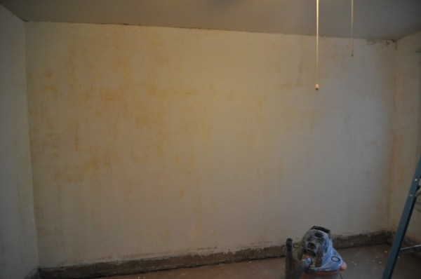 Bedroom wall skimmed