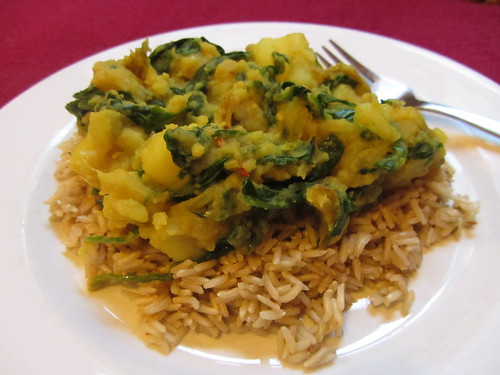 saag aloo on brown basmati