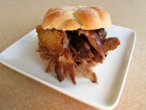 Cola braised shredded ham hock sandwiches with crispy fried pickles