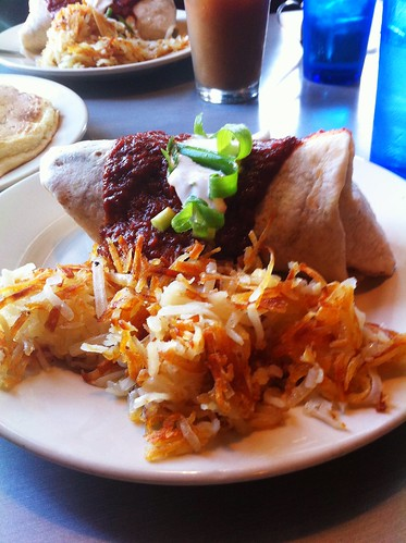 vegan breakfast burrito + hash browns