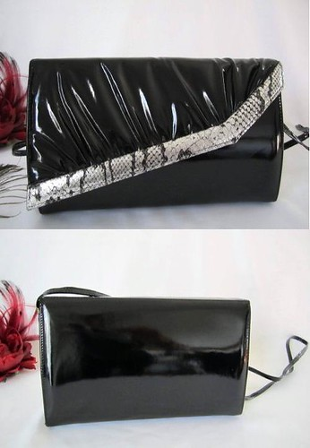 Handbag Black Patent Snake