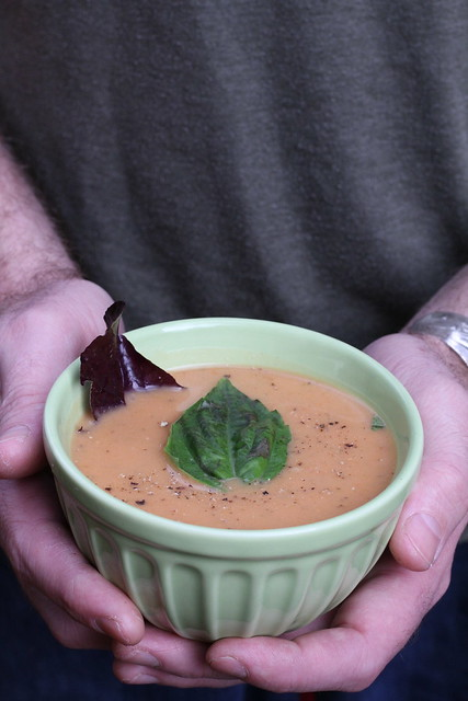 Puréed acorn squash, beet & leek soup