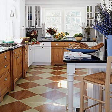 checkerboard stained floor coastal living kitchen