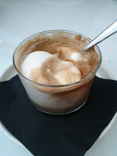 """Caffe affogato, """"drowned"""" coffee with ice cream, Milan, Italy"""