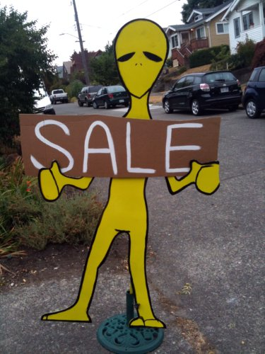 Alien sale sign