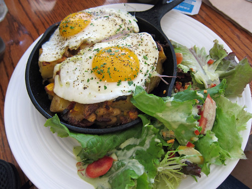 Hash with Sunny Side Up Eggs and Greens
