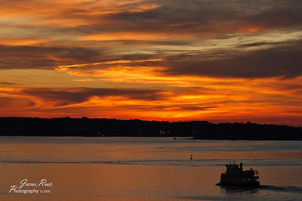 A sunset at sea.