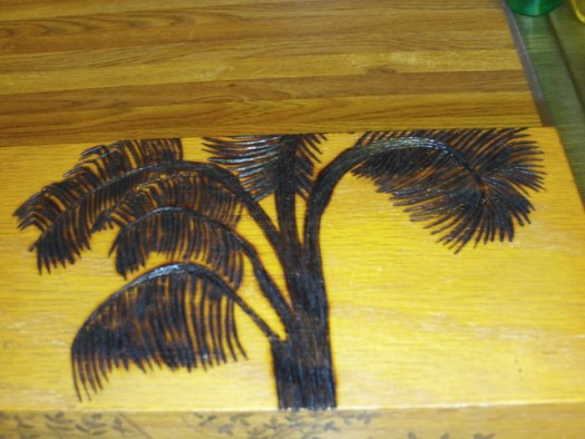 Wood Burning The Palm Tree On The Box
