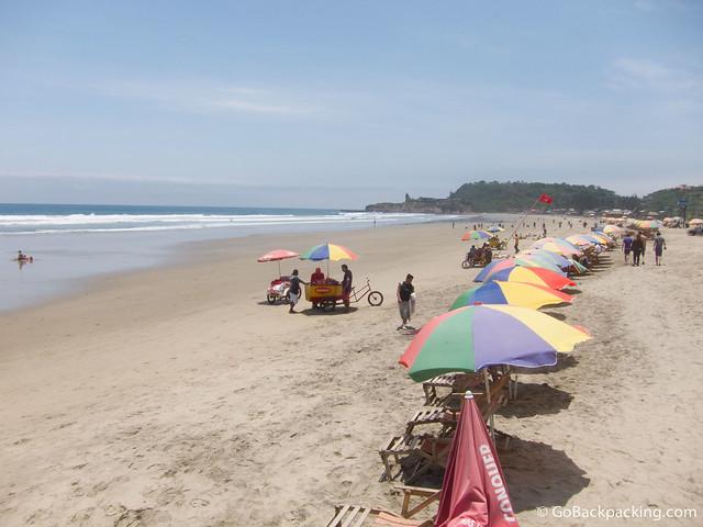 The beach in Montanita, Ecuador