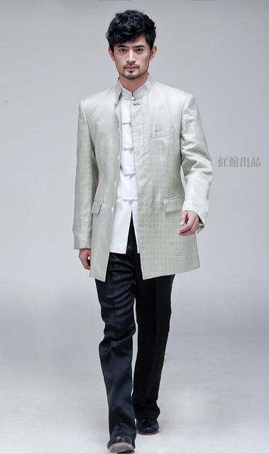 ◆【紅館】◆淡綠色織錦緞男士修身上衣HN0438青瑟雲
