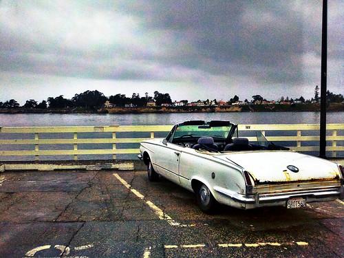 old school car on a rainy day