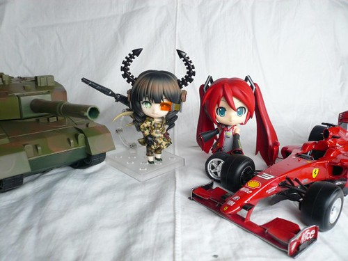 Posing with Scuderia Ferrari Miku