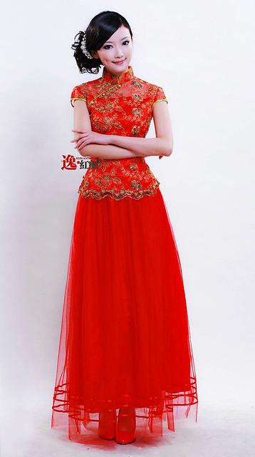 【上海印象】驚豔新娘 2011時尚改良旗袍 紅色結婚敬酒禮服 ND002
