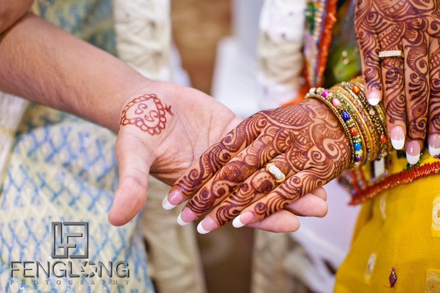 Bride and Groom with Henna on Hands | Shamz & Sana's Wedding Day 2 | Hyatt Place Atlanta Airport South | Atlanta Indian Photographer