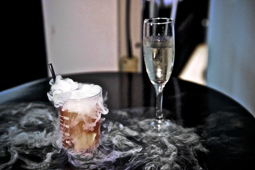 Dry ice cocktail and champagne