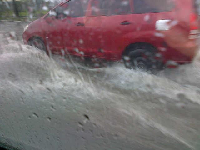 Splashing through a flood