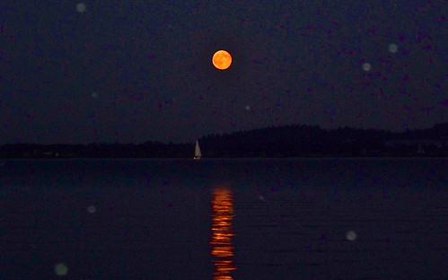 Looking - Sail Boat Full Moon by WETCLOUD