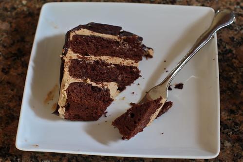 overhead bite of cake
