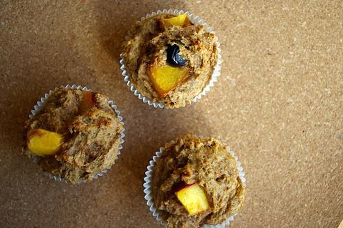 Peach-blueberry muffins
