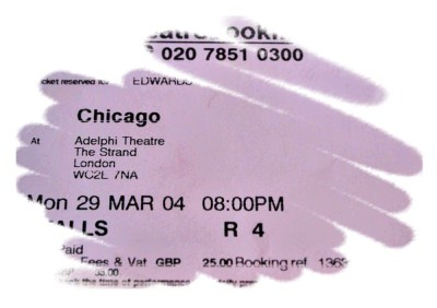 My ticket to the Musical Chicago